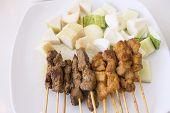 Mutton And Chicken Satay Dish Vertical