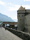 image of montre  - The famous medieval Chillon Castle in Montreux Switzerland - JPG
