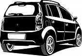 stock photo of midget  - black and white Vector  illustration of car - JPG