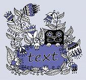 Floral illustratie met een kader voor tekst en een kat
