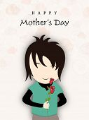 Happy Mothers Day background with cute boy holding flowers for his mother.