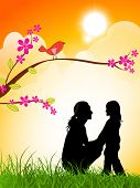 Silhouette of a mother and her daughter on evening background for Happy Mothers Day.