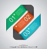 Abstract infographics design with paper numbered labels - vector illustration. This work - eps10 vector file, contain transparent elements and mesh gradients.