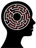 Circle Maze Puzzle As A Brain In A Person Head