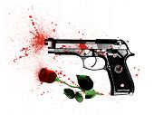 stock photo of broken heart flower  - symbol a crime in the name of love a pistol and a rose covered with bloodstains - JPG