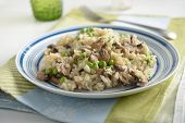 Mushroom risotto with green peas