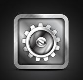 Mobile app icon - metallic gear design. Setting, setup, controls concept