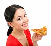 Beautiful girl eats pizza close-up isolated on white