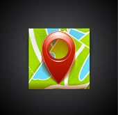 Mobile app icon - navigation map and tag symbol. Vector colorful illustration: map, red tag (pin) symbol