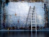 stock photo of wall painting  - Dirty grunge wall with wooden ladder - JPG