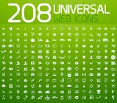 stock photo of universal sign  - Set of 208 white vector universal icons isolated on green - JPG