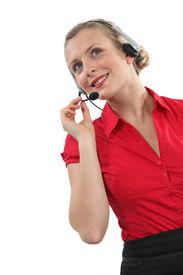 pic of pep talk  - Peppy woman wearing a headset - JPG