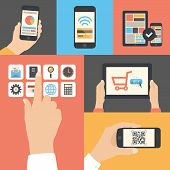 Mobile und Tablet-Business-Kommunikation-Nutzung