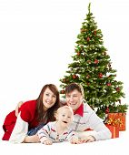 Christmas Family Funy Baby Under Fir Tree Over White Background