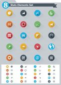 stock photo of glyphs  - Flat statistic elements icon set - JPG