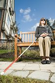 picture of physically handicapped  - Blind woman sitting on a bench - JPG