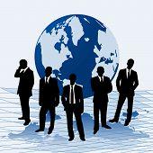Vector Illustration Businessmen Against A Map Of World