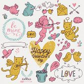 Valentines Day cartoon vector set in romantic colors. Cute Cupids, cat, rabbit, birds, champagne, envelopes, hearts and other design elements