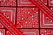 Ukrainian National Red And Black Ornament Embroidery Closeview