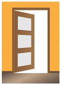 Door opened , classic design with lock, vector eps10