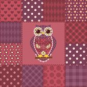 Seamless patchwork owl pattern 3