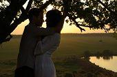 Couple under tree at summer evening