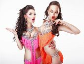 Clubbing. Two Women Showgirls In Stage Dresses poster