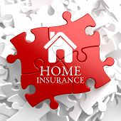 stock photo of mansion  - Home Insurance Inscription with Home Icon on Red Puzzle - JPG