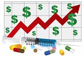 Syringe With Medication Drugs Pills And Chart Illustration