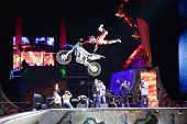 MOSCOW - MAR 02: Jump on a motorcycle on the festival extreme sports Breakthrough 2013 in the arena