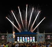 CANTON, OH-AUG 3: Fireworks on display during the NFL Class of 2013 Enshrinement Ceremony at Fawcett Stadium on August 3, 2013 in Canton, Ohio.