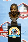CANTON, OH-AUG 3: The bust of former defender Curley Culp on display during the NFL Class of 2013 En