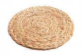 natural fibers braided trivet mat on a white background