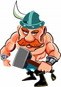stock photo of viking  - Cartoon viking with a big hammer - JPG