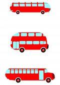 pic of motor coach  - Red retro bus set on awhite background - JPG