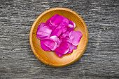 Wild Rose Brier Petal In Wooden Plate