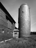 Old Barn With Leaning Silo