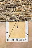 image of sundial  - Sundial on the Wall of French Building - JPG