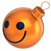 Smiley Christmas ball orange Happy New Year bauble smile face smiling
