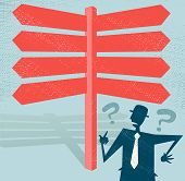 Abstract Businessman At A Blank Signpost