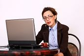 Attractive secretary with eyeglasses