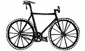 Isolated Vector Drawing of Bicycle