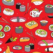 Seamless japanese cuisine sushi roll and maki illustration background pattern in vector