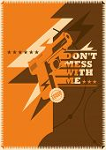 Retro poster with gun. Vector illustration.