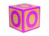 Letter O on Childrens Alphabet Block.