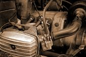 Motorcycle Engine Close-up Abstract Background