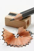 Sharpened pencil,wood shavings and