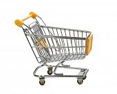 Yellow shopping cart isolated on white, clipping path
