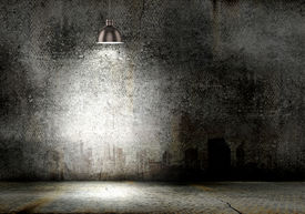 pic of lamp shade  - Background image of dark wall with lamp above - JPG