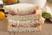 foto of home-made bread  - Rustic hand cut boiled ham sandwich made with home made bread - JPG